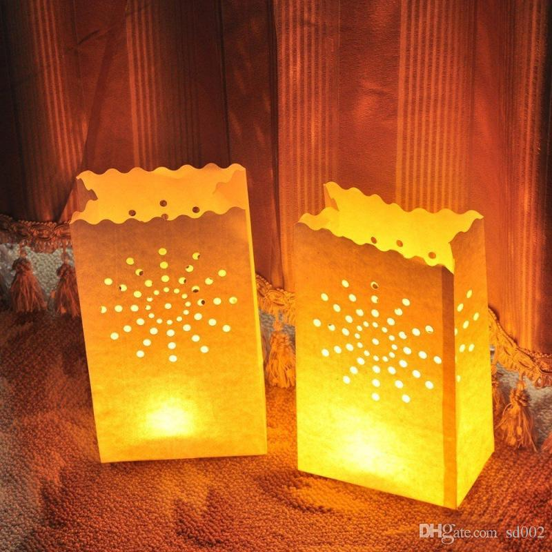 Creative Paper Candle Bags Christmas Wedding Party Table Centrepiece Candles Holder DIY Manual Hollow Out Lantern Decoration 0 65zb YY