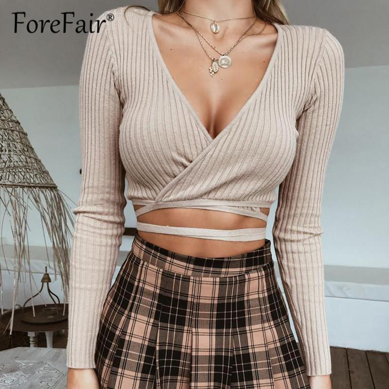 d88fd7608d9e02 Forefair Knitted Crop Top 2018 Autumn Women Sexy Criss Cross V Neck Long  Sleeve T Shirt Tops Slim Bandage Knitwear Tops Cropped Buy Cool T Shirts  Online ...