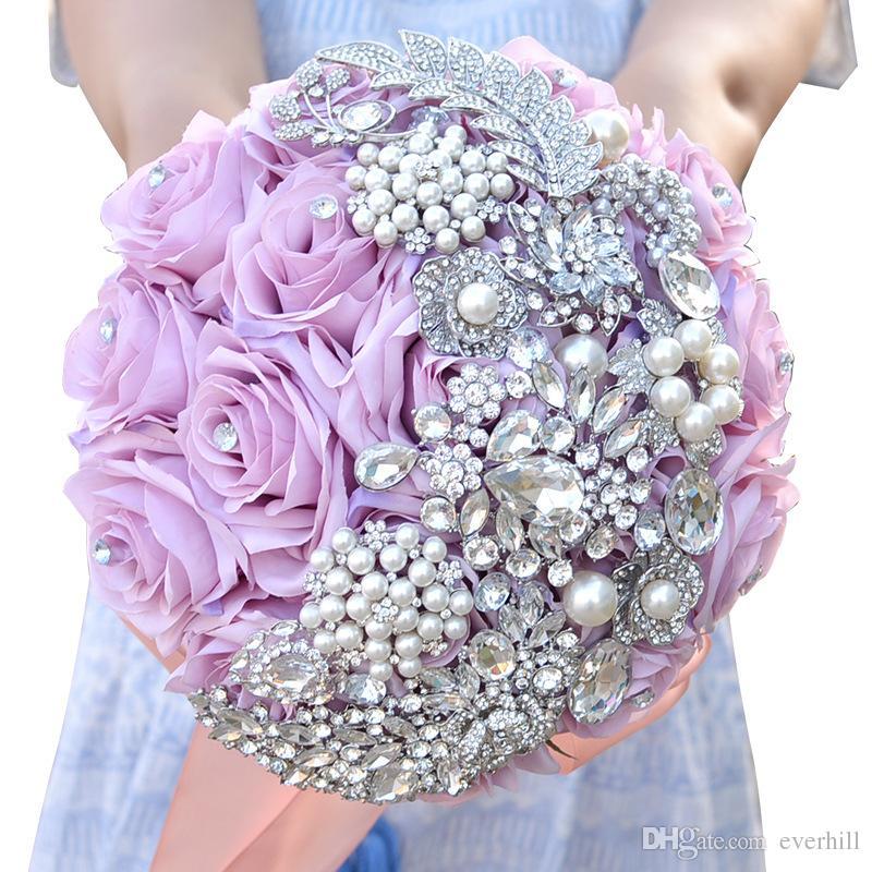 JaneVini 2018 Роскошные Бриллиантовые Свадебные Свадебные Цветы Свадебные Букеты Искусственный Роза Кристалл Жемчуг Брошь Букет Fleurs Mariage Новый