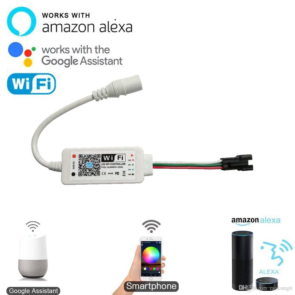 hot sale online 4dfa0 e02b2 WiFi Addressable RGB LED Strip Controller,LED SPI Controller for WS2811,  UCS1903, WS2812B, SM16703,SK6812,WiFi Remote control Work With Amaz