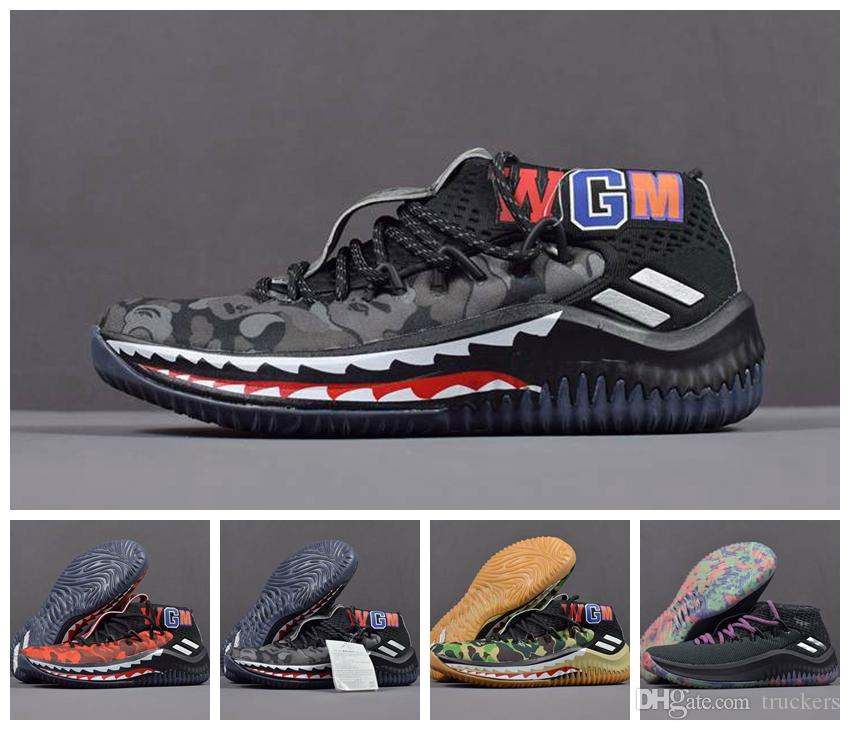 low priced d74bd aa251 2018 Damian Lillard 4 Shark Men Basketball Shoes Dame 4s Camo Green Red WGM  Sports Mens Trainers Zapatos Sneakers Chaussures Running Shoes Basketball  Shoes ...