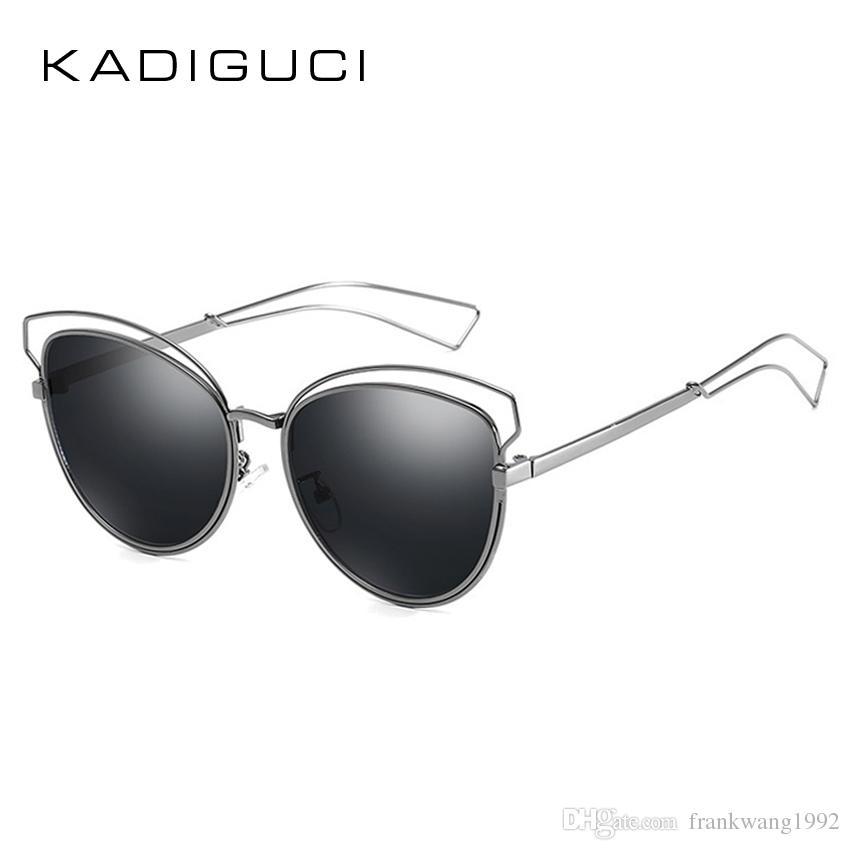 81f3e8f5d1d KADIGUCI New Cat Eye Mirrored Sunglasses Women Men 2018 Fashion ...