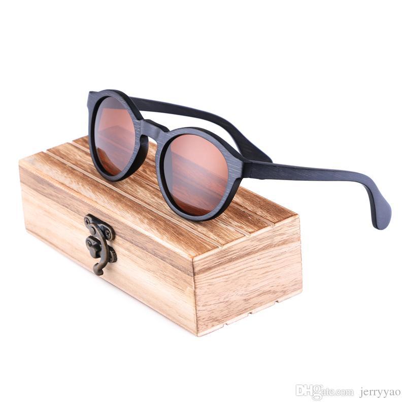 c4e30e3a6 Round Polarized Woman Sunglasses Man Bamboo Wooden Sunglasses Oculos De Sol  Feminino Dropshipping With Wood Case Round Glasses Designer Glasses From ...