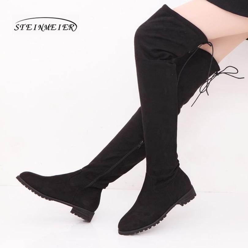 sconto più basso consistenza netta stile attraente Le donne al ginocchio stivali invernali lunghi tacchi alti cerniera calda  stivali neri neri per le scarpe da donna lunghe