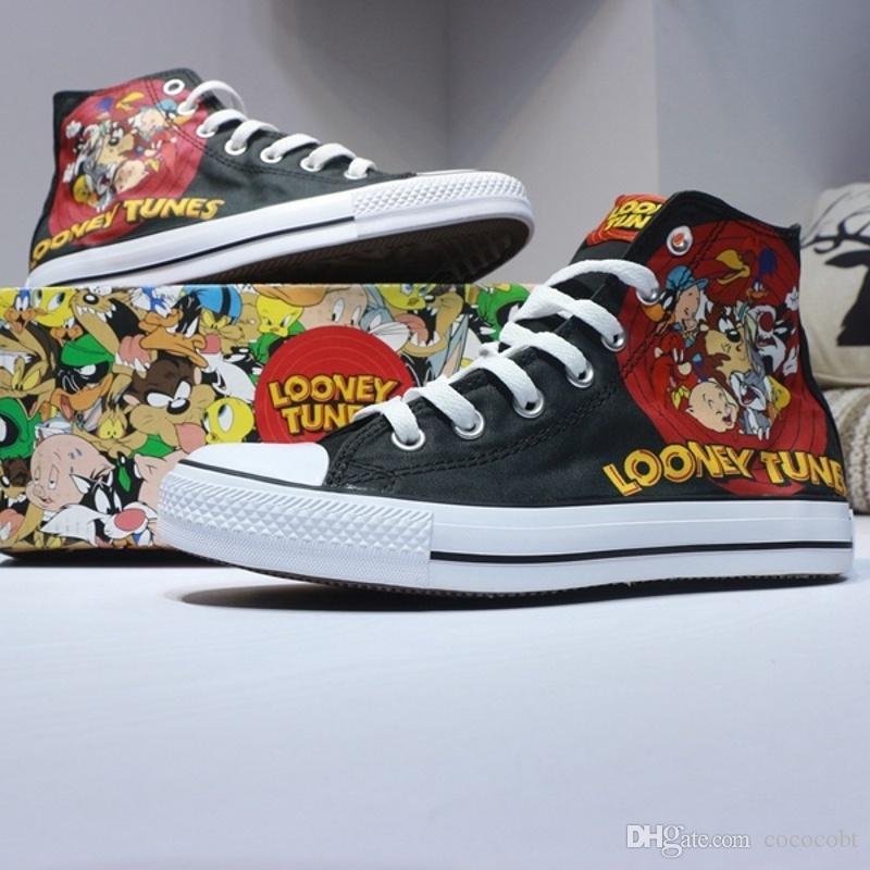 watch e1944 78a8f Compre 2018 Looney Tunes Zapatos Ocasionales De La Lona Elementos Negros    Amarillos De La Historieta Zapatos De Mezclilla De La Manera Alta Superior  ...