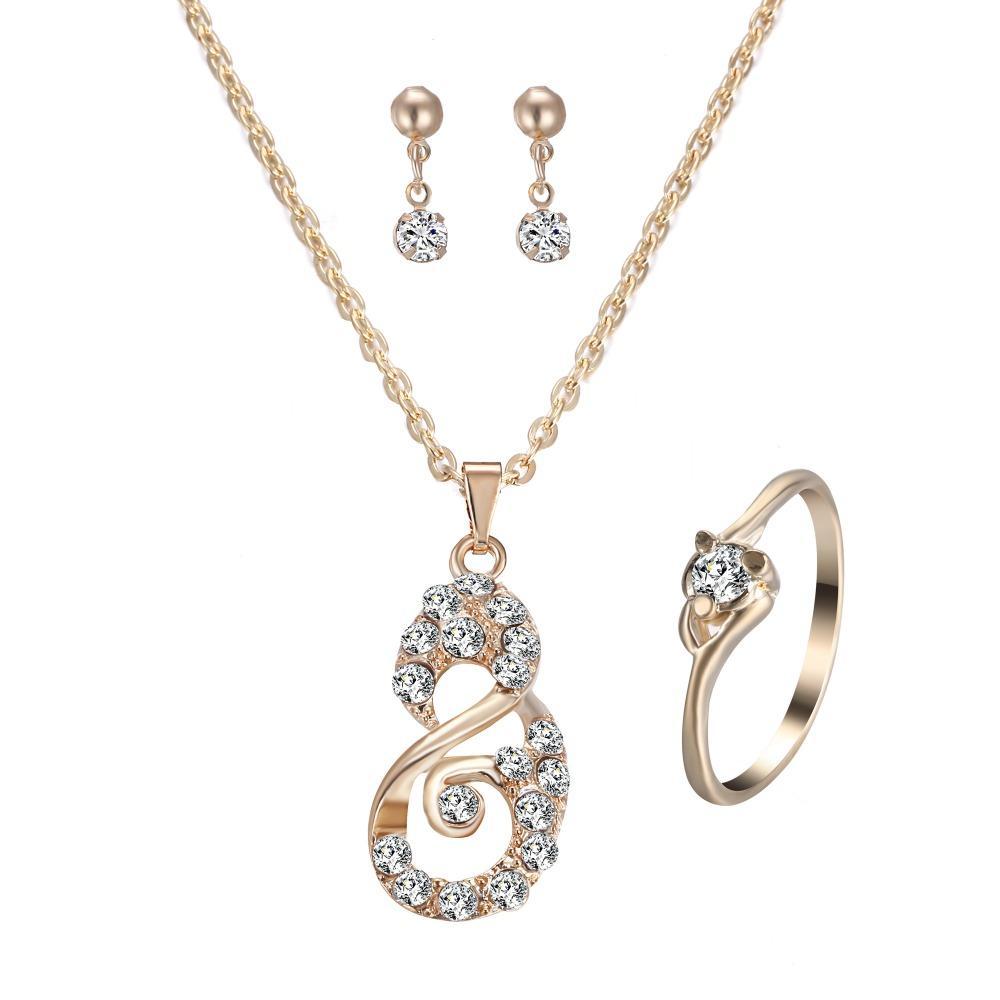 22ec709c0a89 Compre Número 8 Collar Pendiente Del Anillo Conjunto De Joyas De Oro Para  Las Mujeres Novia Regalo De La Joyería De La Boda A  32.84 Del Chuhuaiking  ...