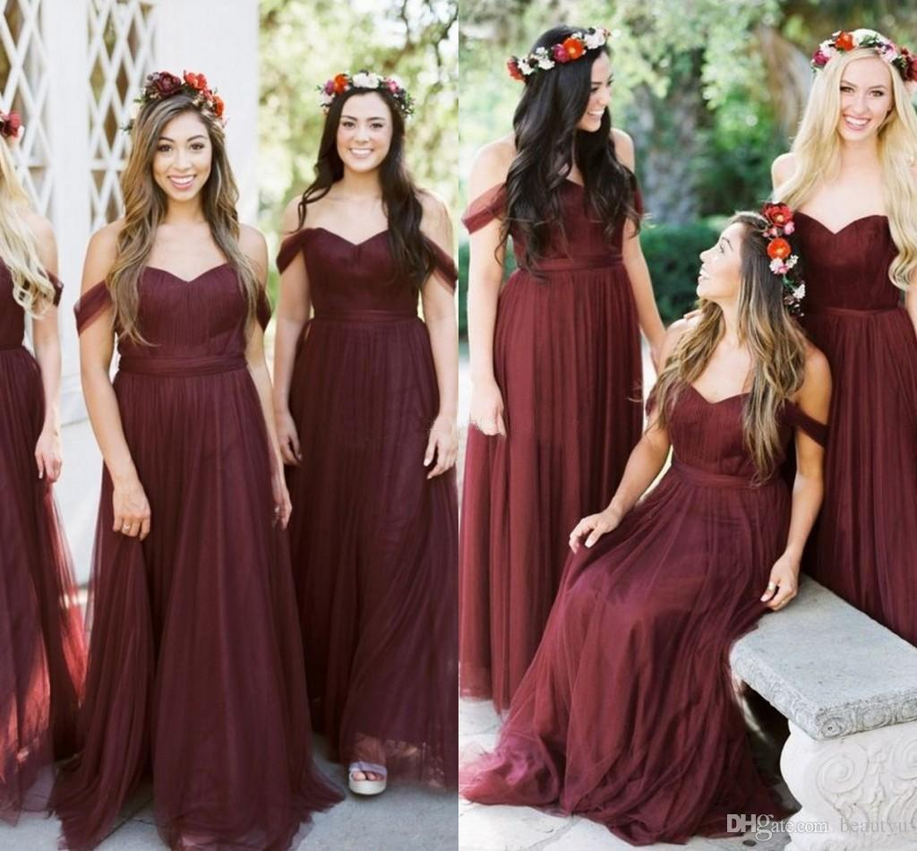 Burgundy Boho Bridesmaid Dresses Off The Shoulder Pleated Elegant Tulle  Long Plus Size Wedding Guest Dress 2018 Country Maid Of Honor Gowns