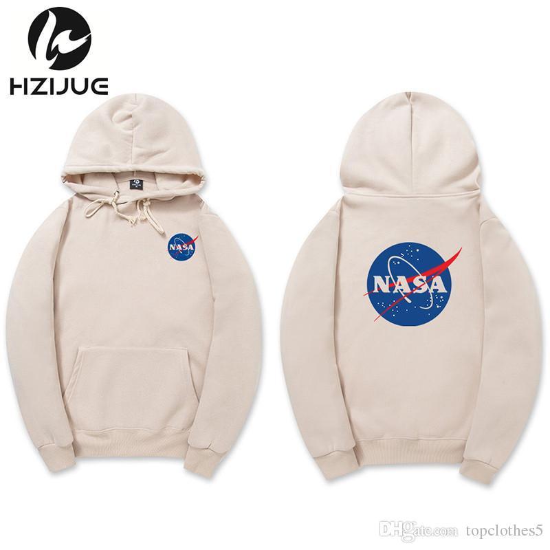 df2a7c7602b Hot NASA Hoodie Streetwear Hip Hop Khaki Black Gray Pink White ...
