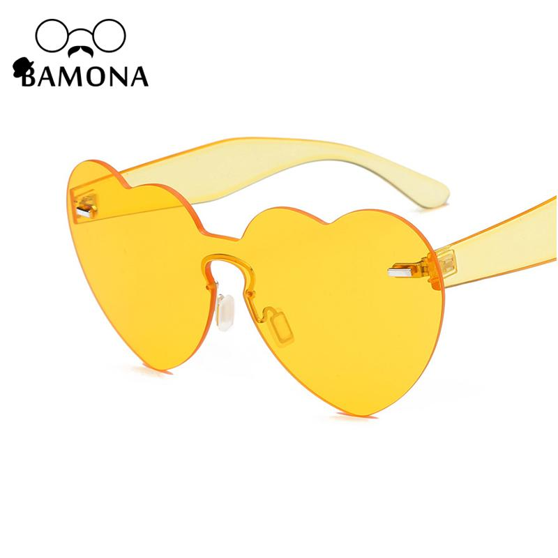 f6b51ac19b BAMONA 2018 New Love Heart Sunglasses Women Vintage Clear Lens Pink Yellow  Red Rimless Heart Shape Sun Glasses For Female UV400 Heart Shape Sun  Glasses Sun ...