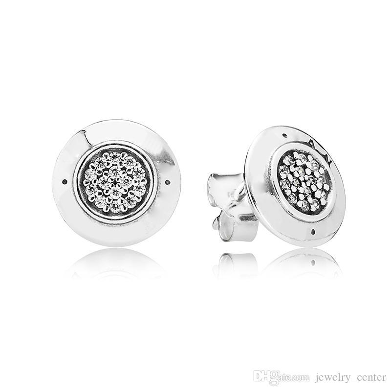Kadın Otantik 925 Gümüş KÜPE Logo İmza ile Kristal Damızlık Küpe Kadınlar için Pandora Takı ile Uyumlu
