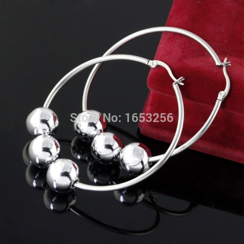 d9ba8d4300007 One Pair of Sleek Surgical Stainless Steel Large Hoop Earring with Steel  Ball charms Heavy shiny for Women Ladies bling