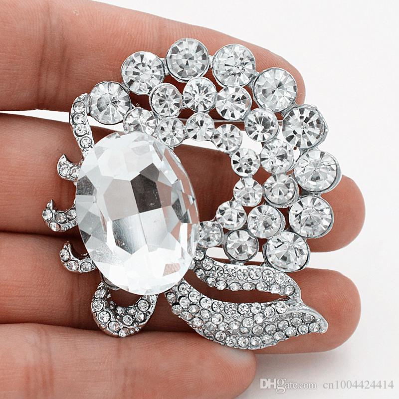 Unique New Design Fashion Flower Brooch Huge Glass Stone Stunning Clear Crystals Women Corsage Delicate Pretty Wedding Bouquet Decoration
