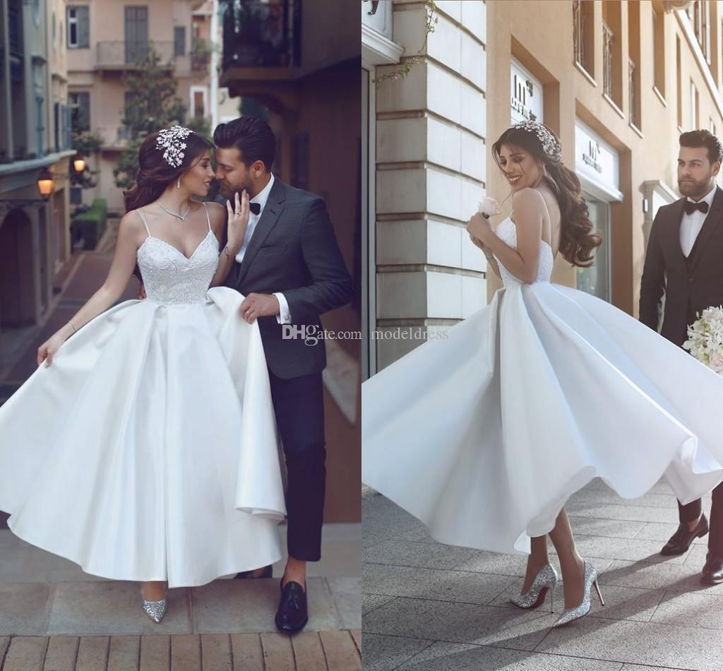 Charming Ankle Length Puffy Wedding Dresses 2018 Spaghetti Lace
