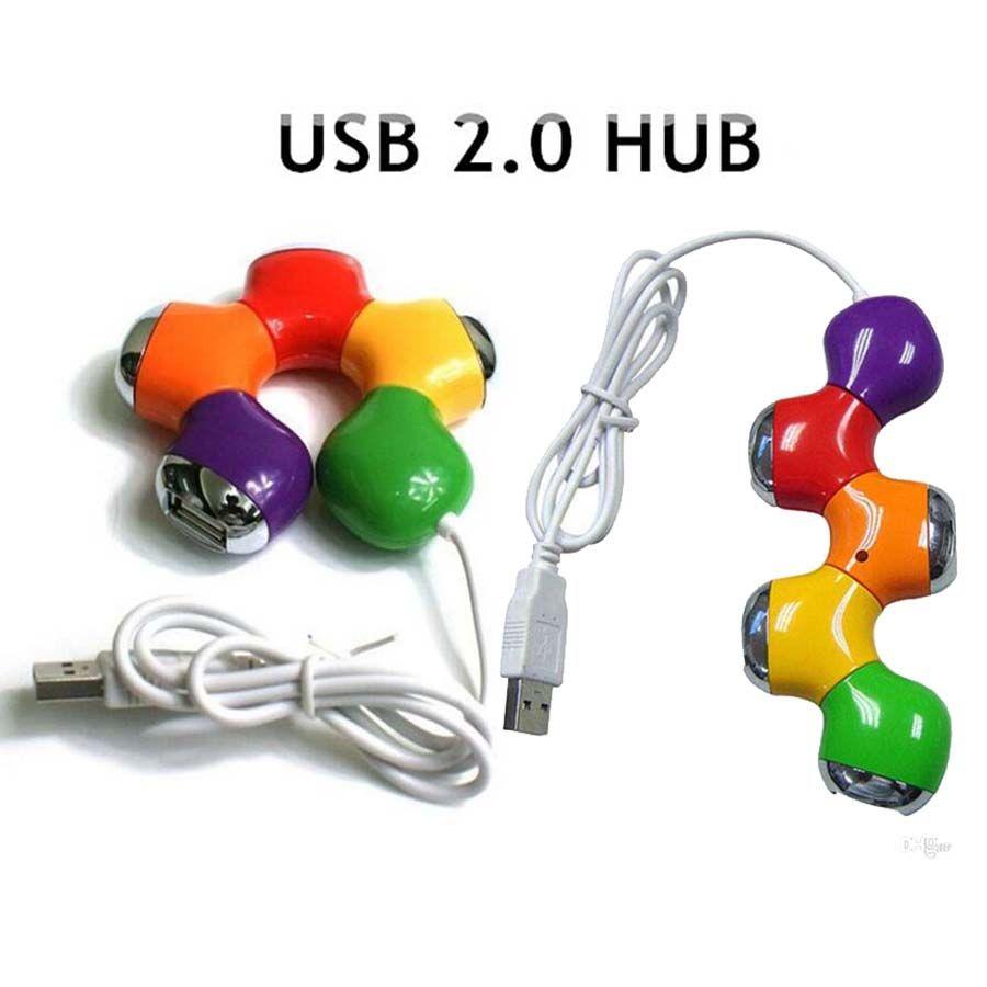 USB portatile ad alta velocità 4 porte USB 2.0 hub USB Splitter fiore computer portatili Tablet PC Laptop