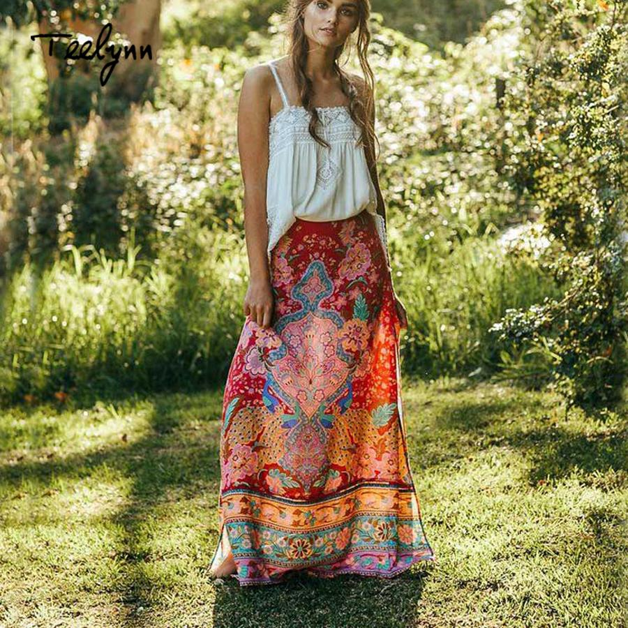 2a5a0c7e84 2019 TEELYNN Boho Women Long Skirts Rayon Bohemia Peacock Floral Print Sexy  Side Fork Beach Skirt Casual Chic Hippie 2018 Maxi Skirt From Paluo