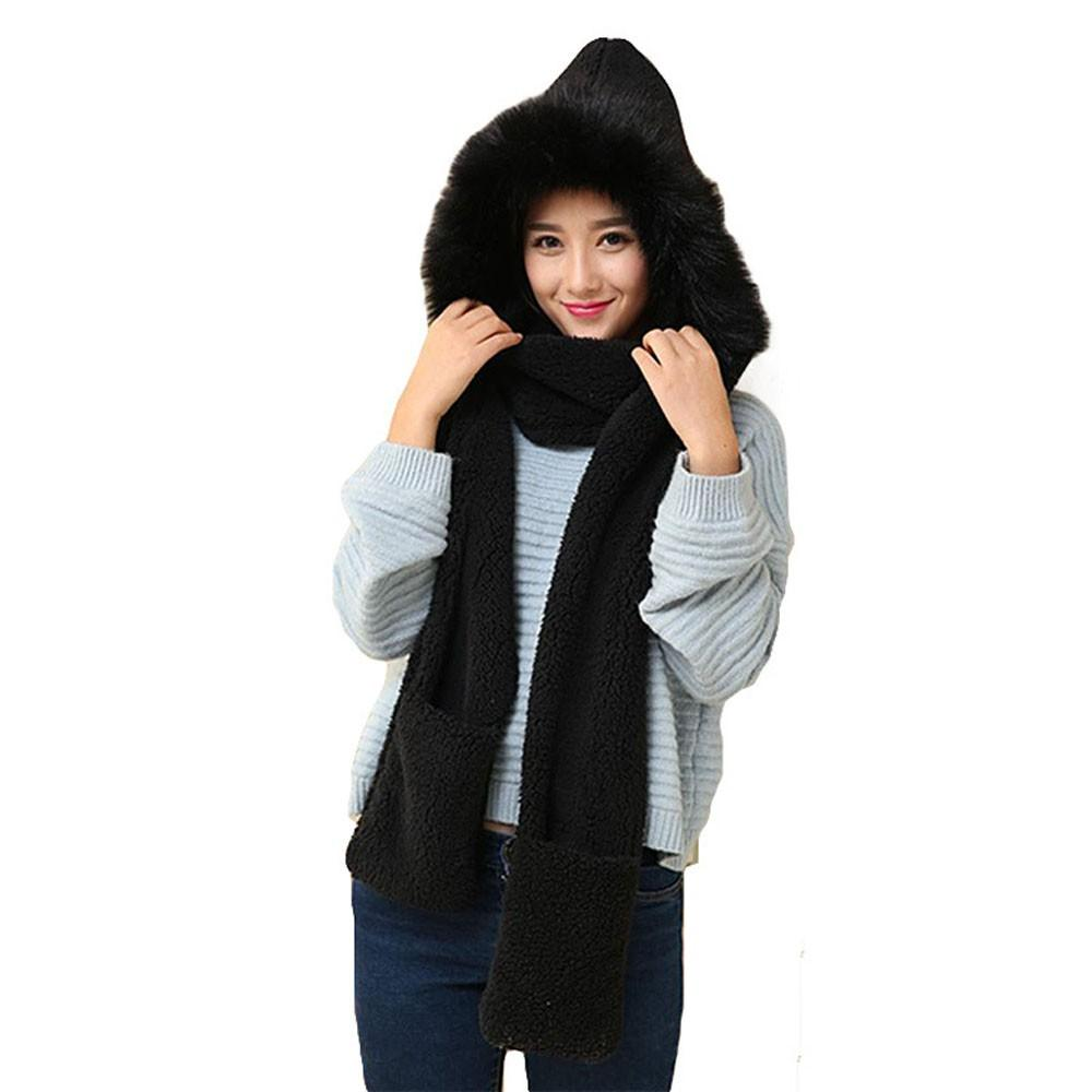77647e06b87 Women Faux Fur Solid Beanie Warm Winter Keep Warm Hat Gloves Pocket ...