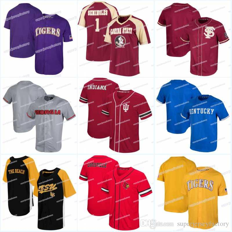 quality design 15201 d8fab Men's Florida State Seminoles Jersey Georgia Bulldogs Indiana Hoosiers  Kentucky Wildcats Long Beach State 49ers Dugout Baseball Jerseys