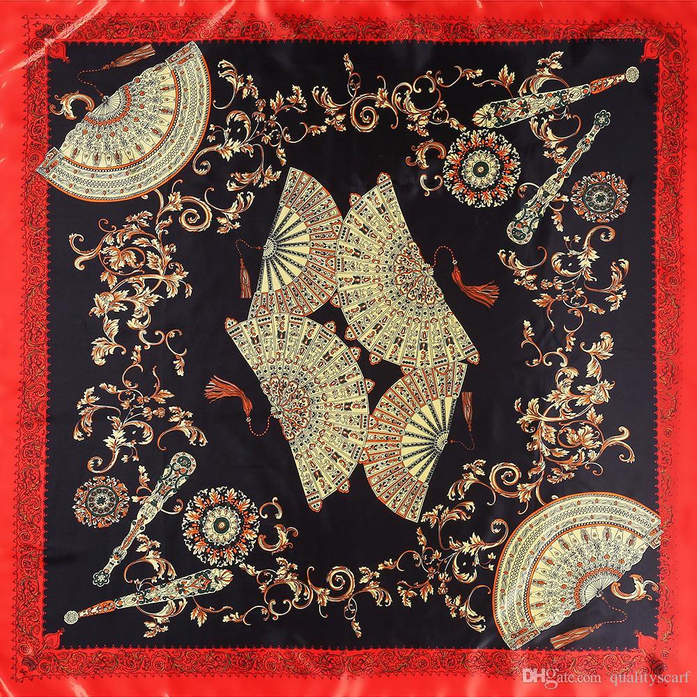 a54d23466434 2018 Vintage Women Silk Floral Print Scarf Large Scarves Foulard Femme  Echarpe Neckerchief Joker Big Square Scarf 90 90CM Wholesale Scarf Ring  Hijab From ...