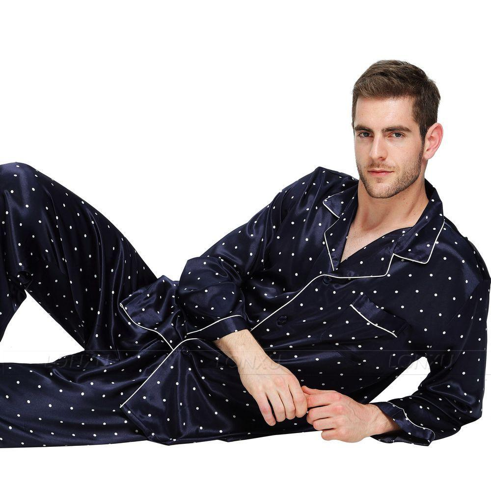 2019 Mens Silk Satin Pajamas Set Pyjamas Set PJS Sleepwear Loungewear U.S 62cbd80be