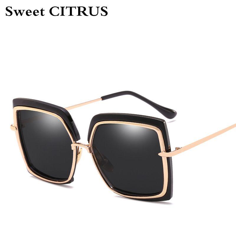 6586e8f05c3 Sweet CITRUS Luxury Brand Big Frame Design Sunglasses For Women ...