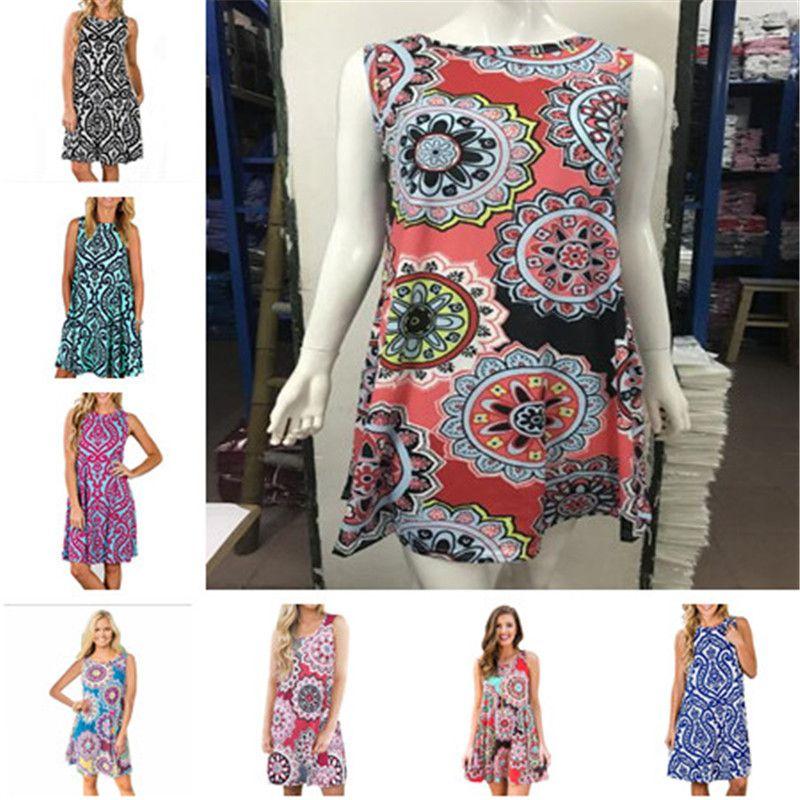 c83de00f60f Sleeveless Floral Print Summer Dress Women Pullover Vintage Elgant ...