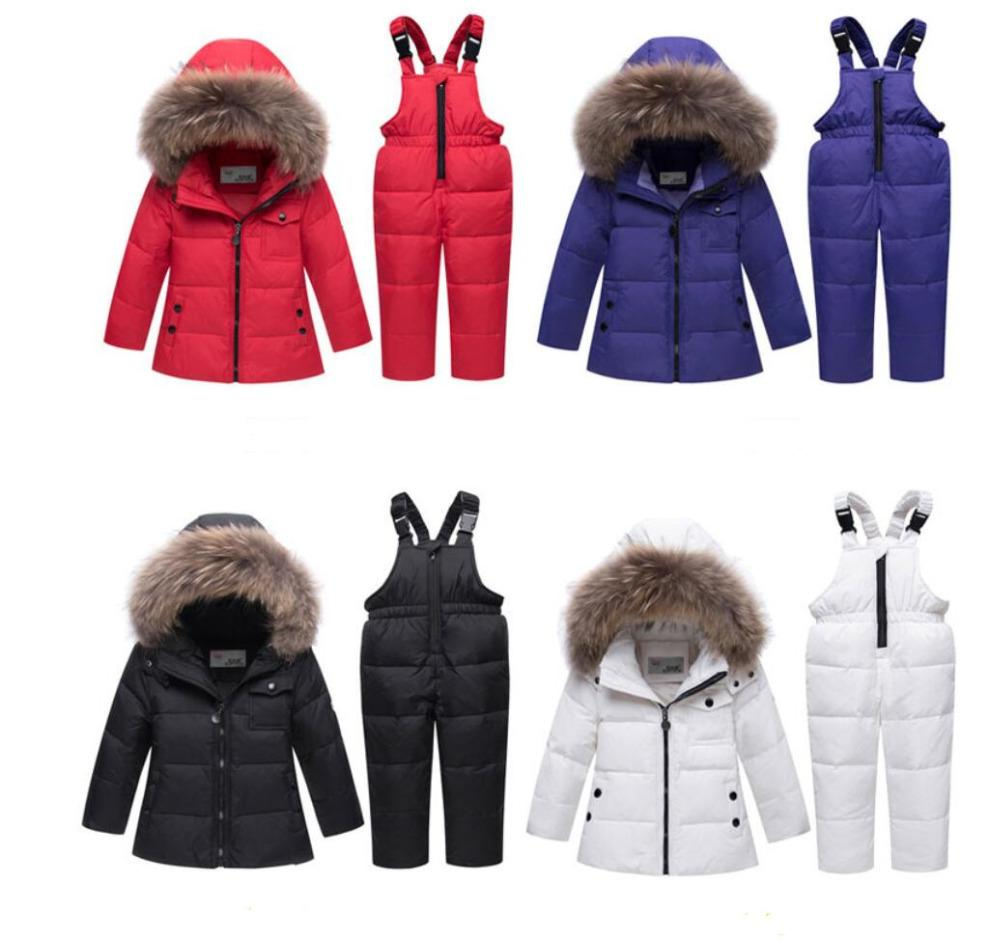 099fd3585 Kids Snow Parkas Real Fur Hooded Boy Baby Girl Duck Down Jacket Sets ...