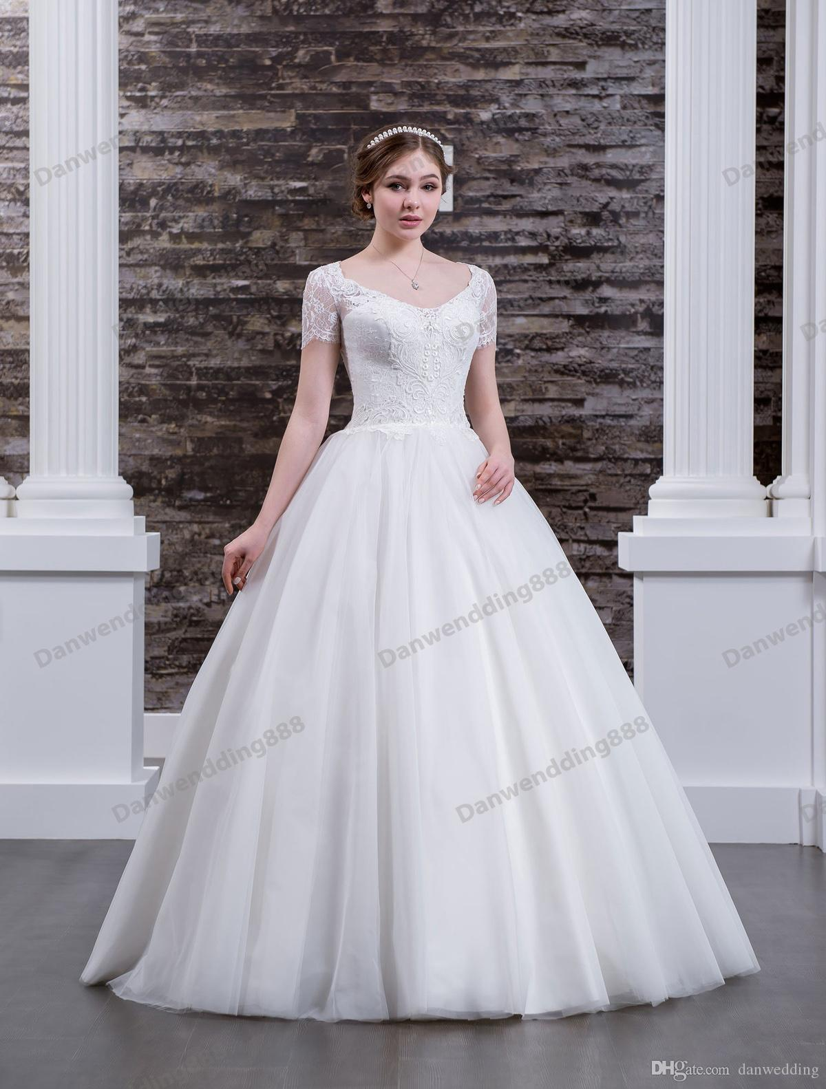 Charming White Tulle/Lace Scoop Applique A-Line Wedding Dresses Bridal Pageant Dresses Wedding Attire Dresses Custom Size 2-16 ZW608069