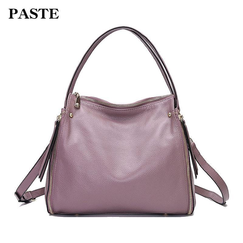 3f0f2536c560 Women Genuine Leather Bags Cowhide Totes Designer Pebble Grain ...