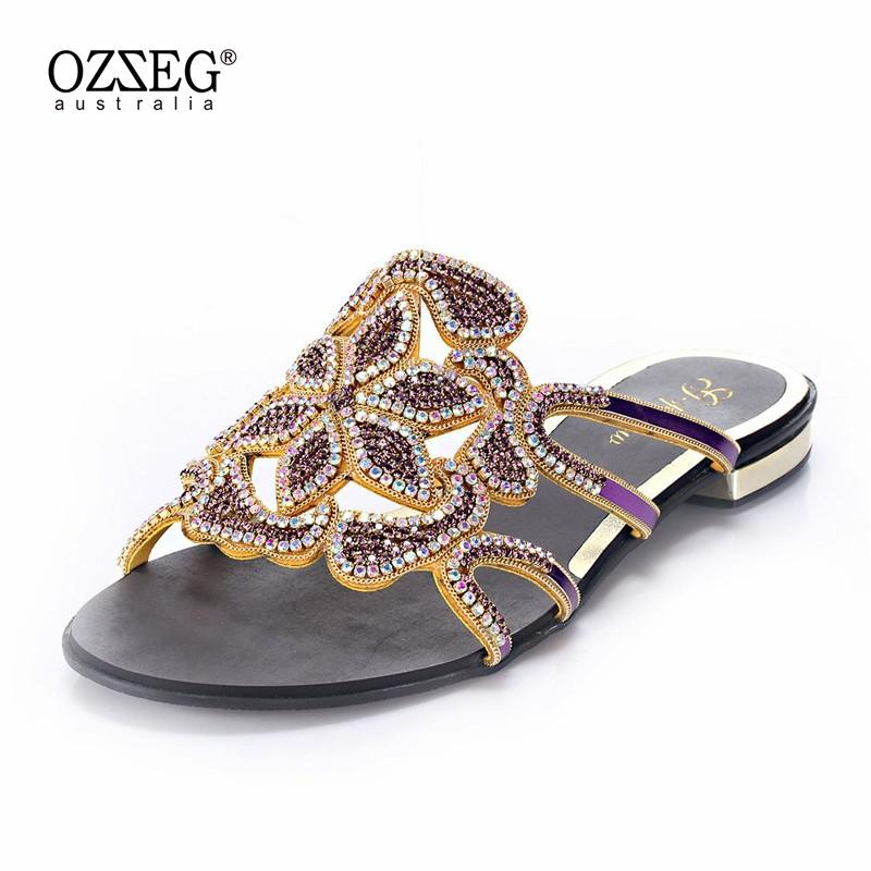 c4b3dec1f7b2c High Quality Rhinestone Flat Shoes New 2018 Summer Sandals Women Leather  Thick Heel Clip Toe Loafers Female Shoes Thong Sandals Slipper Socks  Moccasins For ...