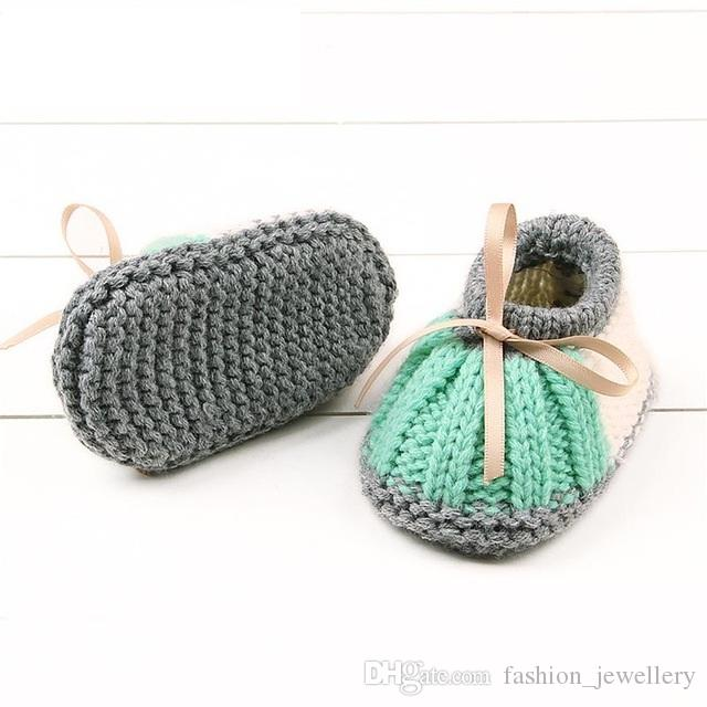 Handmade Newborn Baby Knitted First Walkers Booties Boys Girls Crochet Shoes Winter Warm Toddler Crib Boots /