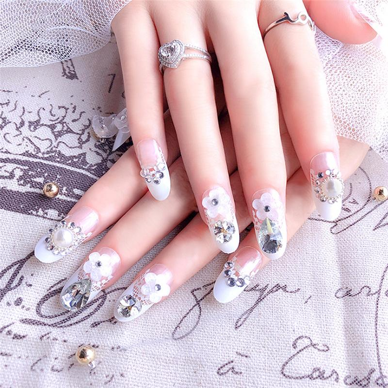 Long Glitter Flower Tips For Nail Art Transparent Style With Glue ...