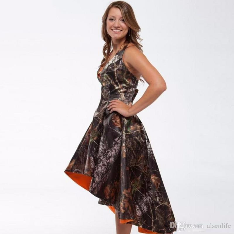 Custom Made Camo Prom Dresses High Low Realtree Camoflage Camo Bridesmaid Dresses 2017 Hot Sale Sleeveless Formal Party Gowns