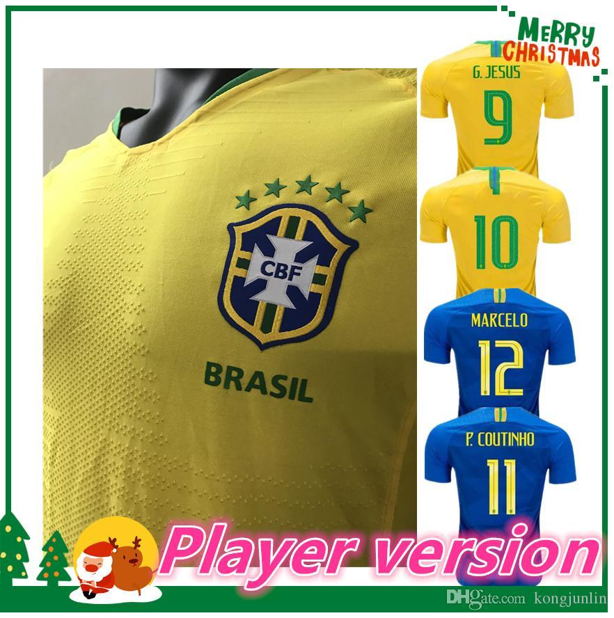 29e2cc959 2018 2019 Player Version World Cup Soccer Jersey DAVID LUIZ MARCELO ...