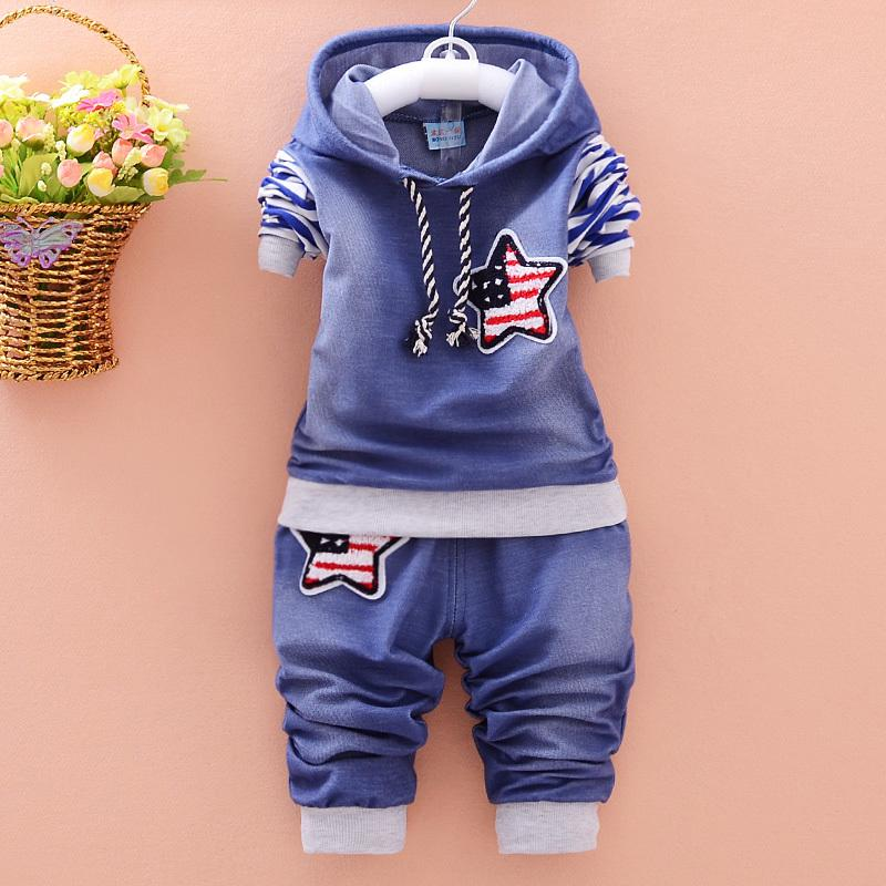Spring Autumn Boy Clothing Cotton Long-sleeved Denim Hooded T-shirt Pants Baby Clothing Kids 2 Pcs Clothing Suit