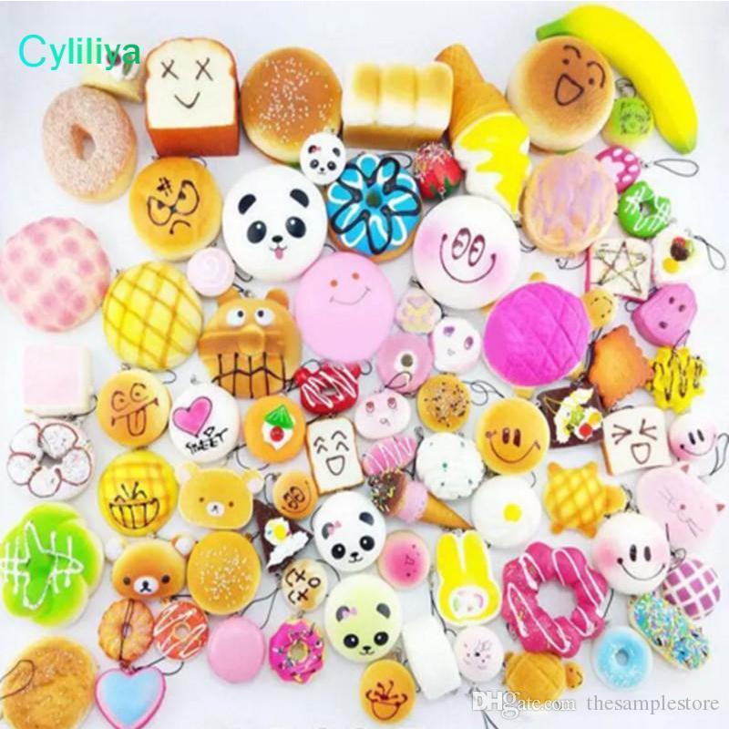 Kawaii adorável Squishies Bun Toast Pão Donut para celular saco Charm Straps Atacado misturado Rare Squishy lento lanyard colher perfumado