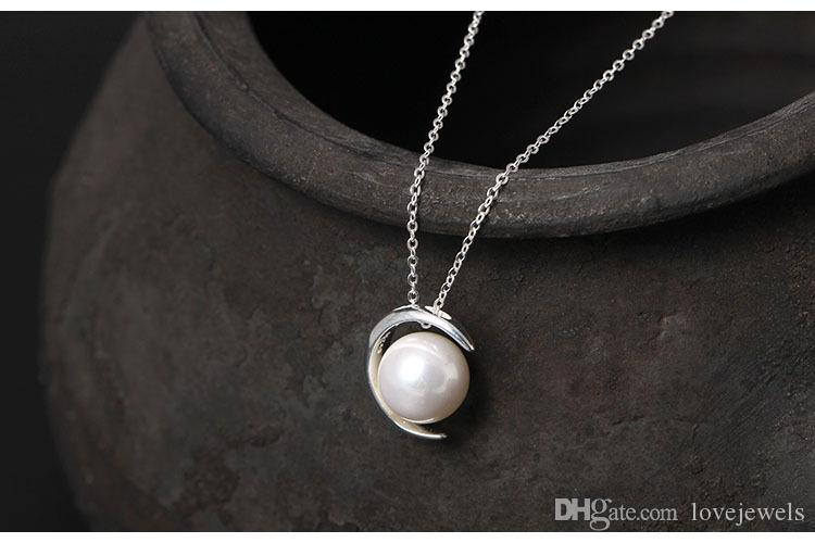 Charms 925 sterling silver pendant necklace Moon Shell Pearl chain Fashion sets jewelry valentines day gift women China Direct
