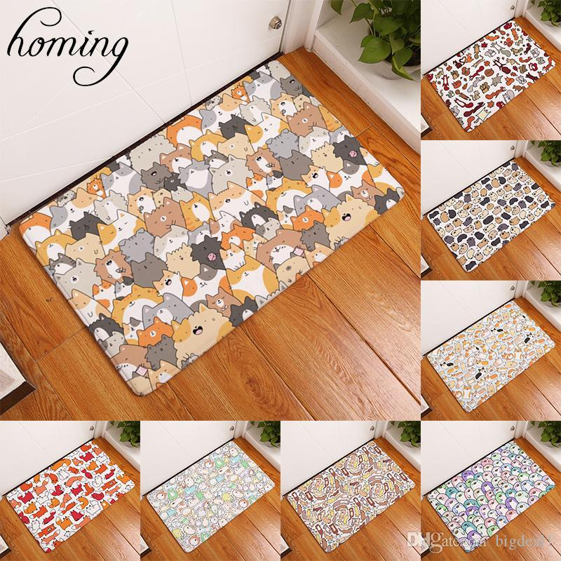 Homing Durable Entrance Door Mats Funny Lovely Cartoon Dog Cat Pattern Rugs Light Thin Flannel Waterproof Kitchen Bedroom Carpet Laying Carpet Lees Carpet ...