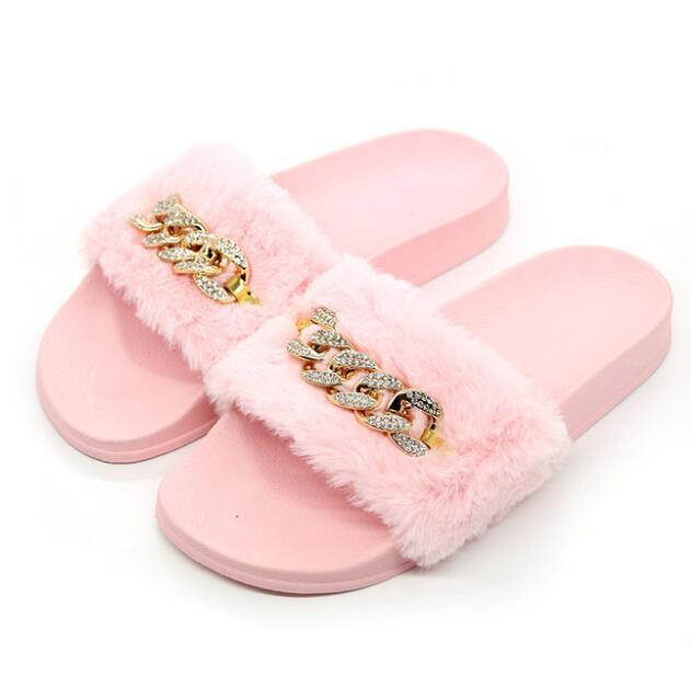 3f2bb72ac9811 Brand Women s Summer Fashion Faux Fur Plush Slippers Flipflop Sandals Fluffy  Flip Flop Furry Mule Women s Furry Slippers Slides Femme Faux Fur Plush ...