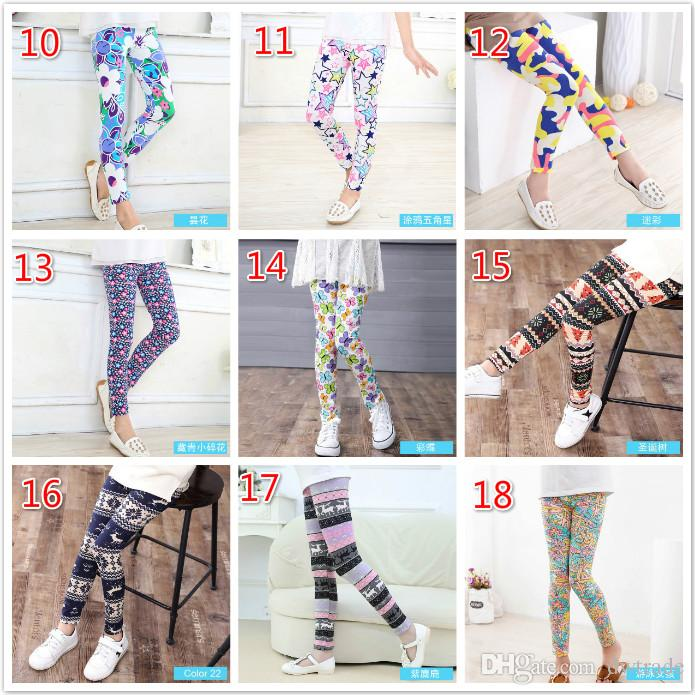 Fashion Girls Floral Print Leggings Spring Snowflake Milk Silky Long Pants Soft Slim Tights Elastic Pants Baby Girls Clothing Kids Clothing