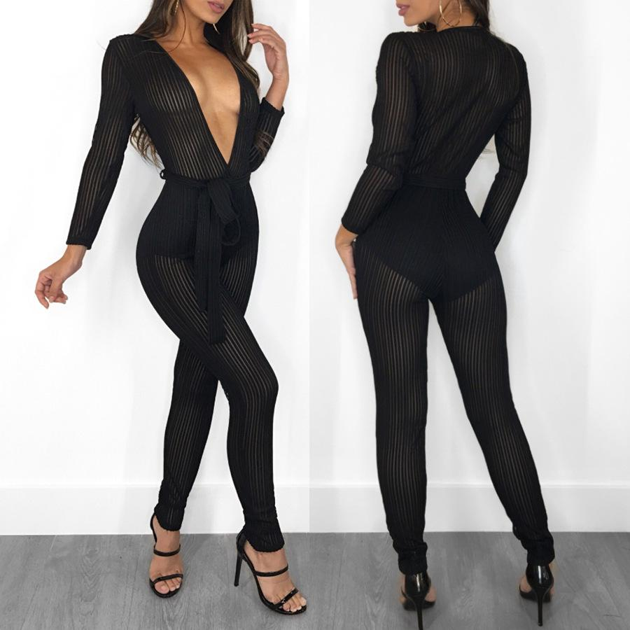 f85fa1a8bb45 2019 Long Sleeve Black Striped Deep V Jumpsuit Women Sexy See Through Mesh  Bodycon Romper Club Wear Party One Piece Jumpsuit Outfits From Vikey16