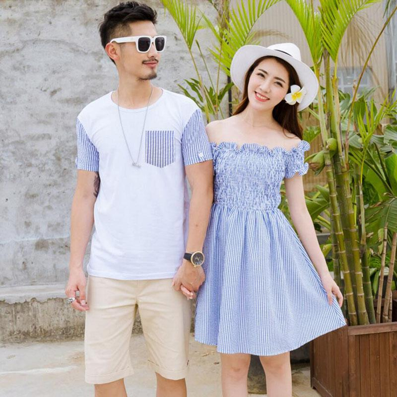 Family Matching Outfits 2018 Summer Style Matching Family Clothing Striped Mother Daughter Dress Father Son T-shirt Family Look