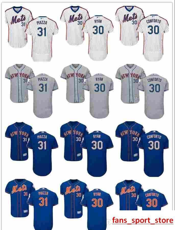 big sale 02467 499ef 2019 custom Men s women youth Majestic NY Mets Jersey #30 Michael Conforto  30 Nolan Ryan 31 Mike Piazza Home Blue Kids Baseball Jerseys