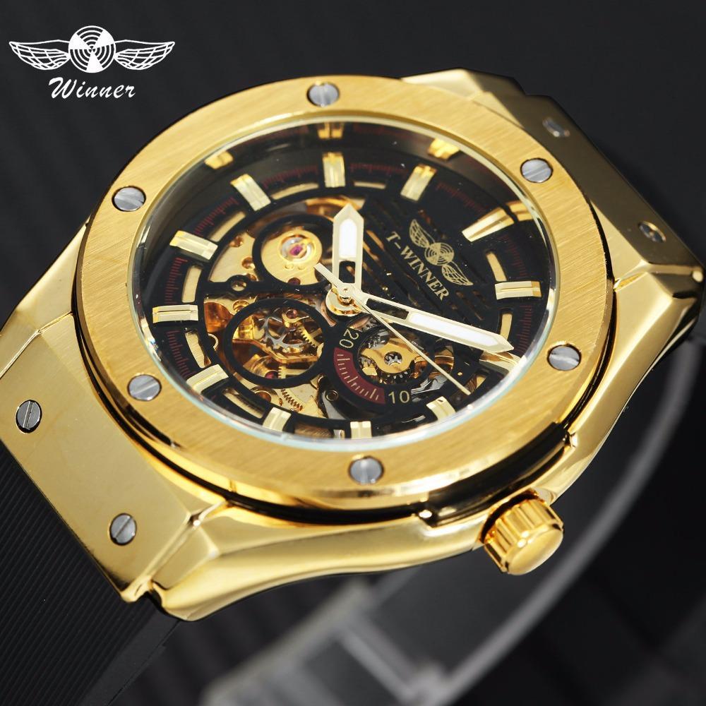 5e2255c6204 Compre GANADOR Top Luxury Brand Men Reloj Mecánico Automático Golden Metal  Series 3D Bolt Esqueleto Dial Caucho Correa Hombres Relojes De Pulsera A   36.64 ...