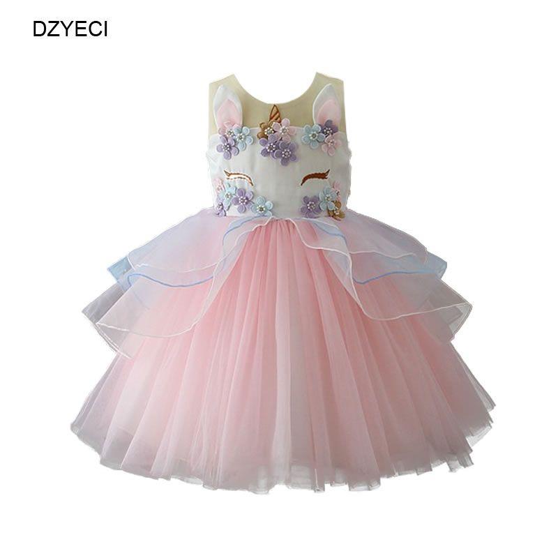 Unicorn dress For Baby Girl Birthday Party Costume Fashion Kid Cartoon Lace TUTU Princess Frock Children Ceremony Pageant Elegant Tunic