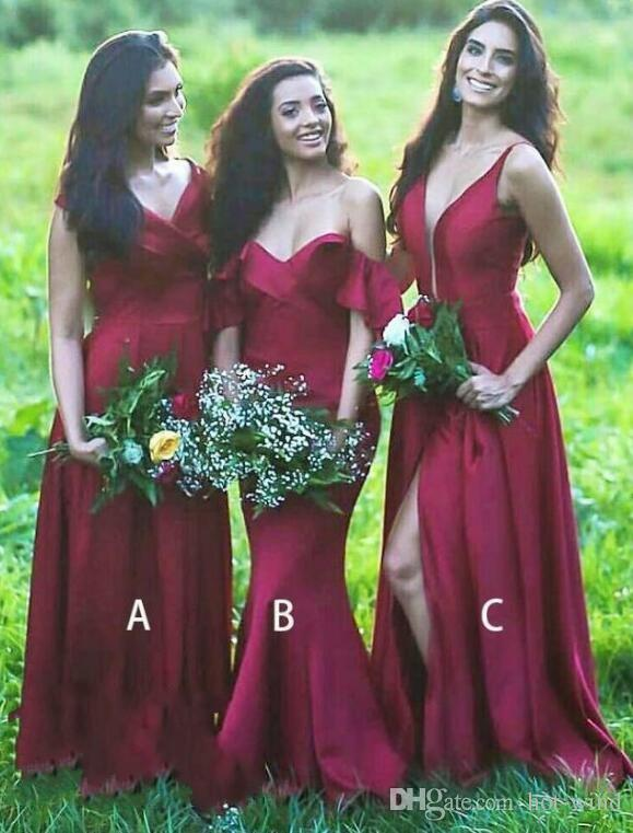 97f55e05dc 2018 Country Elegant Long Bridesmaid Dresses Stretchy Satin Sexy Side Split  Maid Of Honor Dress For Wedding Party Sage Green Bridesmaid Dress Sangria  ...