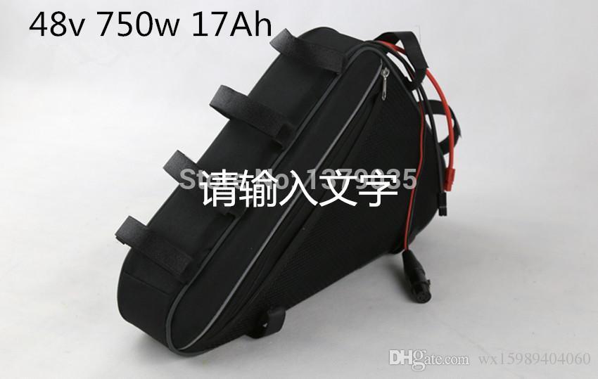Potente triángulo 48 v 750 w batería de bicicleta de montaña eléctrica 48 v 17ah paquete de batería de li-ion