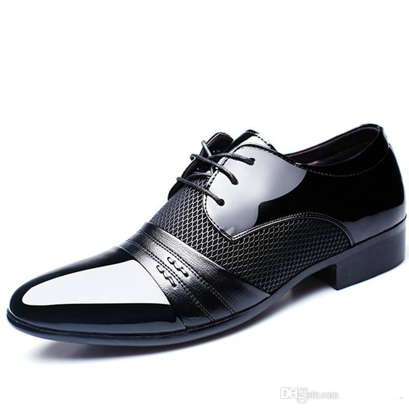 64244ea112ae Patent Leather Black Italian Mens Shoes Brands Wedding Formal Oxford Shoes  For Mens Pointed Toe Dress Shoes Sapato Masculino Fashion Shoes Cheap Shoes  For ...
