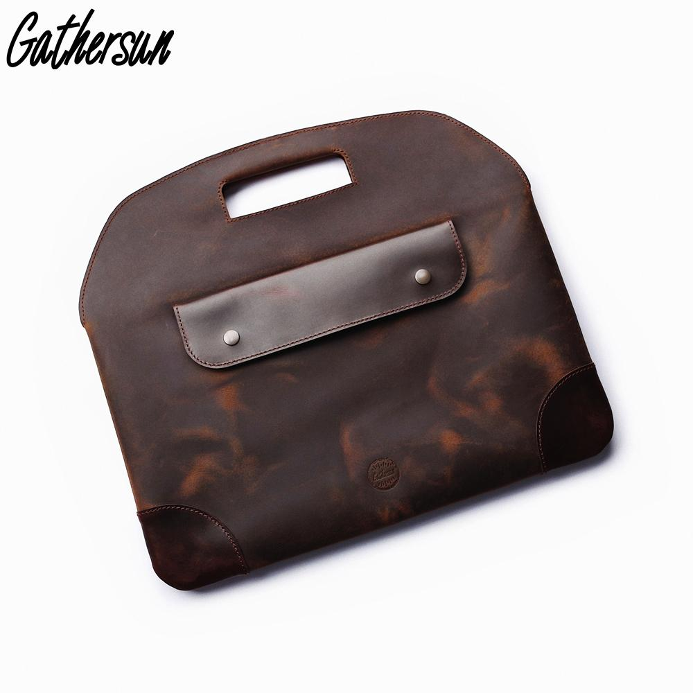 Men Briefcase Bag Leather Handmade Vintage Crazy Horse Leather 13 ... 1faf780f73584