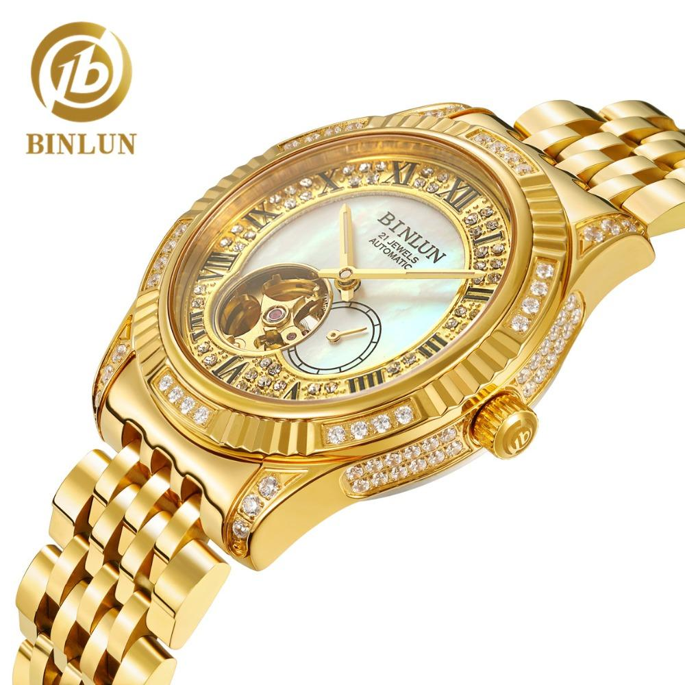 27ffa2cfa BINLUN Men's Automatic Watch 18K Gold Luxury Automatic Watches Skeleton  Movement Watch Sapphire Crystal Diamond For Men