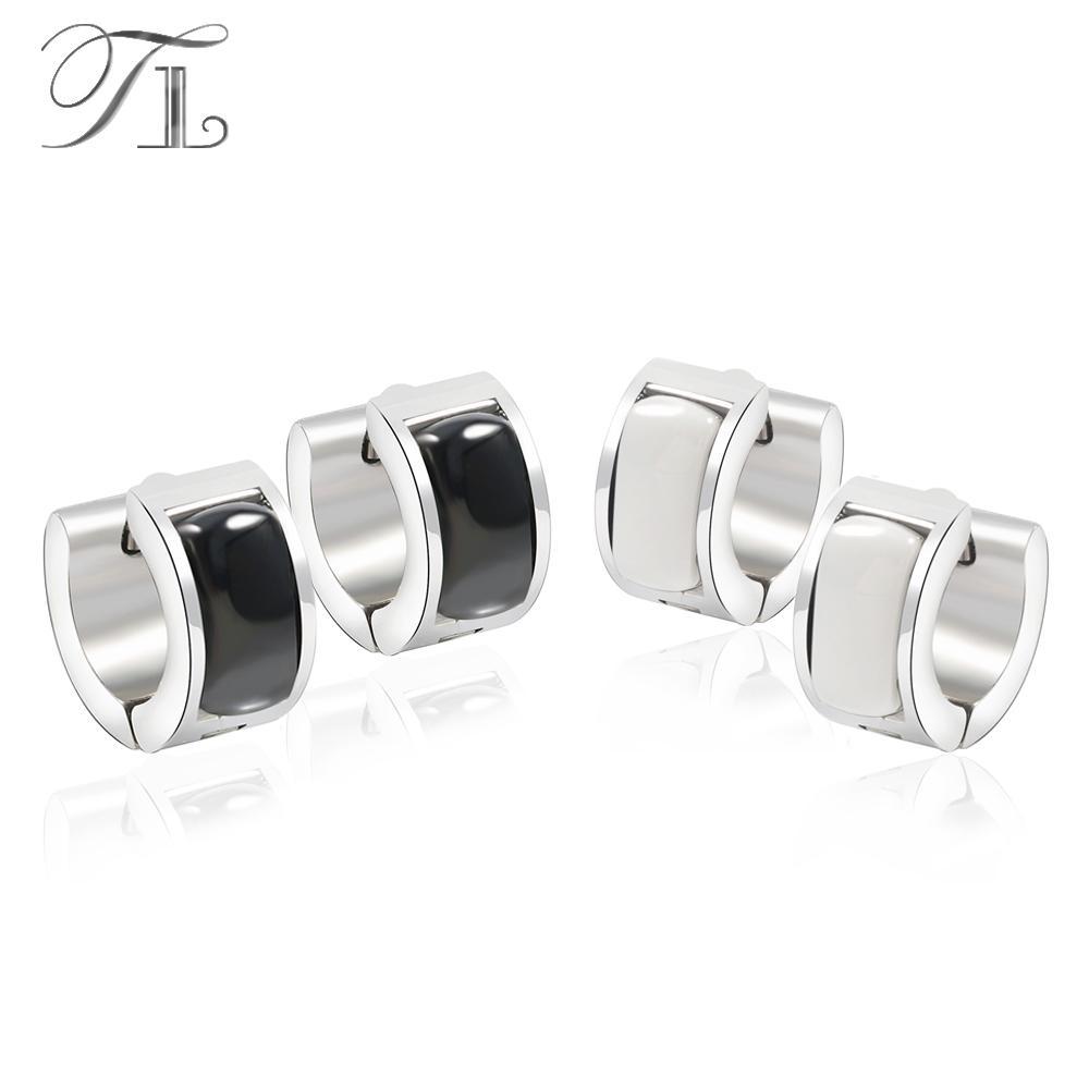 2019 Tl Stainless Steel Hoop Earrings U Shape White Black Ceramic